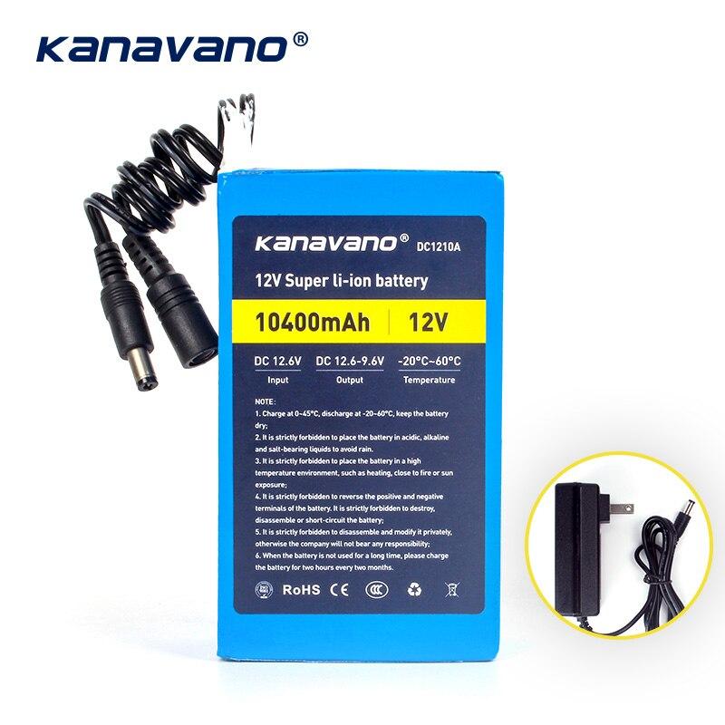 Kanavano meilleur 12 v 10AH 10400 mAh batterie batterie lithium ion caméra avec chargeur 12.6 V 1A prise eu/us shopping gratuit