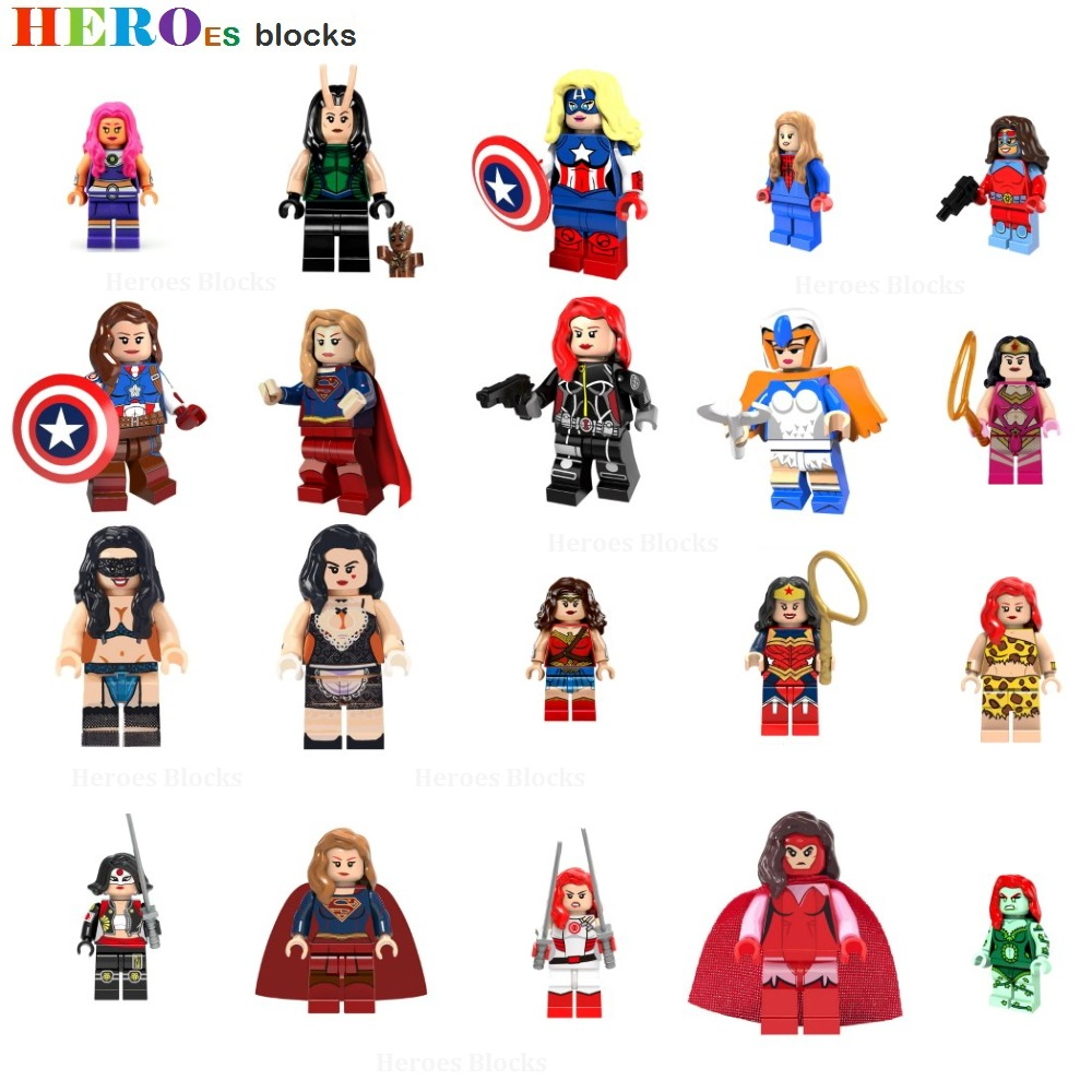 Female Super Heroes Wonder Woman Building Blocks Black Widow Lara Poison Ivy Witch Stripper Figure Bricks Toys Compatible Legoed