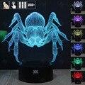 HUI YUAN Aranha 3D Humor Lâmpada Night Light RGB Mutável LED decorativo candeeiro de mesa de luz dc 5 v usb obter um free remoto controle