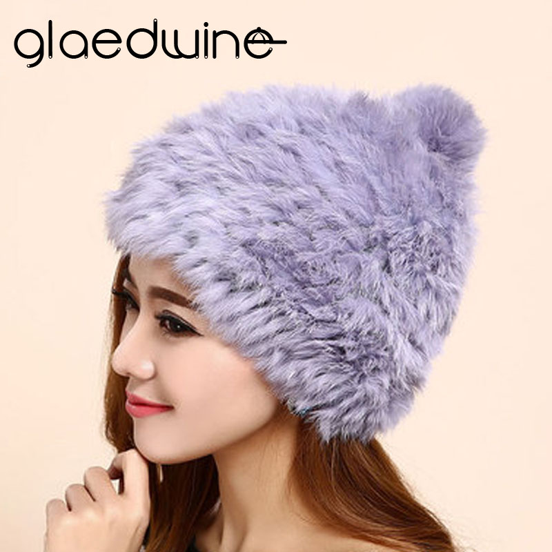 Glaedwine Brand High quality Fashionable winter hats for women Rabbit Fur beanie Knitting wool Real Fur Casual cute girls caps