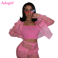 Adogirl Sheer Mesh Organza Button Two Piece Set Pockets Long Sleeve Shirt Blouse Crop Top Bodycon Mini Skirt Women Club Suits butterfly sleeve button through crop blouse
