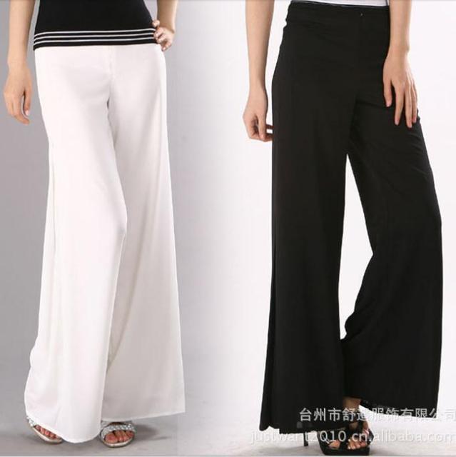 NUEVO 2016 primavera y el verano de alta calidad pantalones de las mujeres tamaño XS XXXL Negro pantalones Blancos sueltos pantalones de pierna ancha para mujeres
