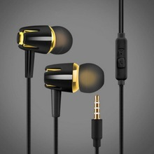 Wired colorful Stereo In-ear Headphone with Mic Earphone Electroplating Bass Handsfree