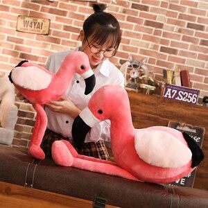 Image 5 - Różowe flamingi zwierząt wypchana lalka pluszowe Flamingo zabawki realistyczne dekoracyjne Flamingo pluszowe zabawki dla dzieci zwierząt prezent 60/90cm