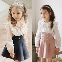 2016 Child Clothing Girls Dress Lace T Shirt 2 Pieces Set Princess Baby Kids Autumn New