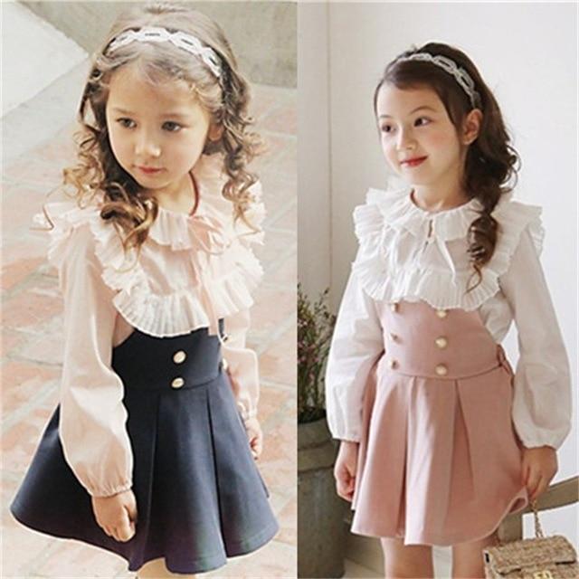 b592725b4 2016 ropa de niño Niñas vestido + Encaje Camiseta 2 unidades princesa bebé  niños otoño nueva