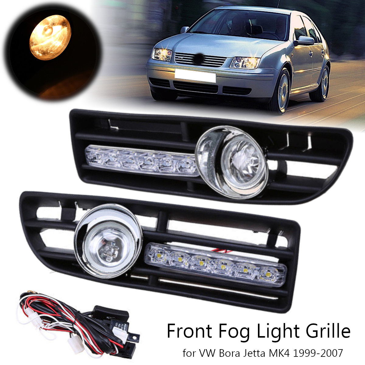 2Pcs Car Front Lower Bumper Fog Light Cover Grille with LED DRL for VW Bora Jetta MK4 1999-2007 areyourshop car front bumper grill led fog light grille with led drl lamp for vw jetta mk6 sagitar 2011 2012 black car covers