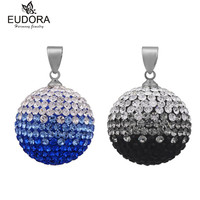 Top Quality Austrian Crystals Ball Disco Pave Crystal Chime Bell Pendant Necklace Gradient Color Ball For