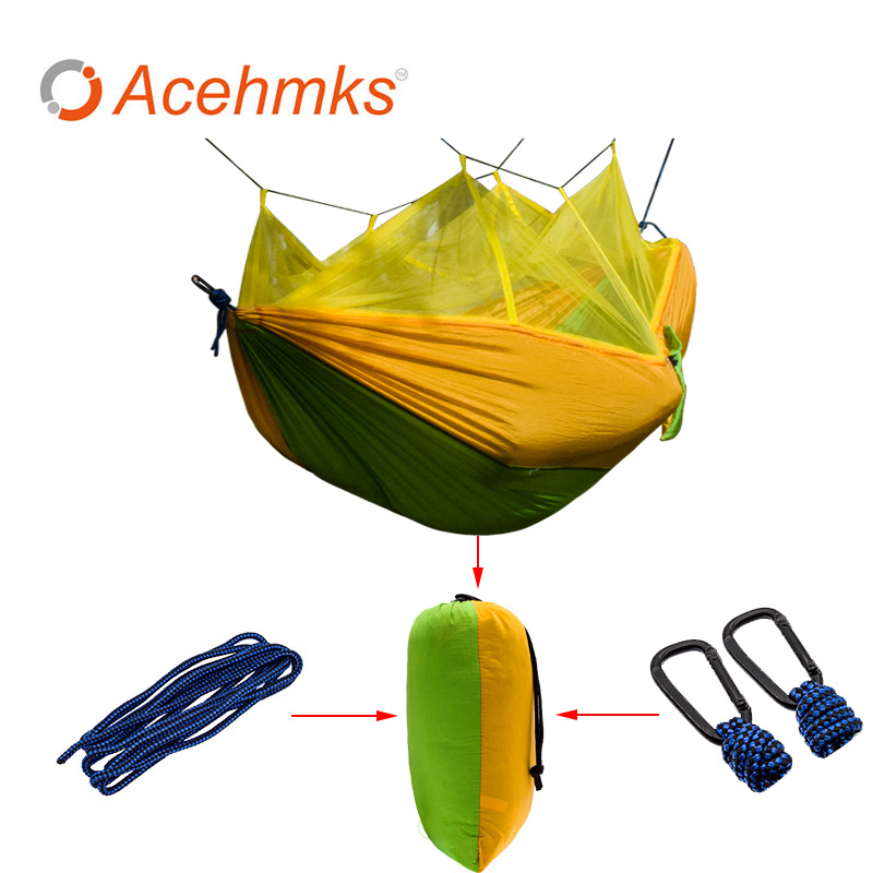 Acehmks Ultralight Parachute Hammock Hunting Mosquito Net Hamac Travel Double Person Hamak for Camping Outdoor Furniture Hammock 2017 2 people hammock camping survival garden hunting travel double person portable parachute outdoor furniture sleeping bag