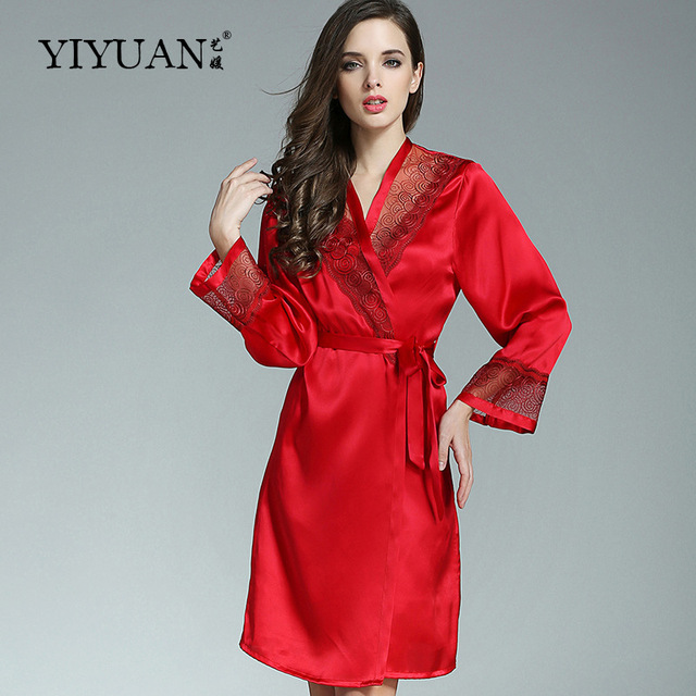 100% Genuine Silk Bathrobes Female Two-Piece Silk Satin Robe Sets 2017 Autumn Long-Sleeved Women Sleepwear P9925