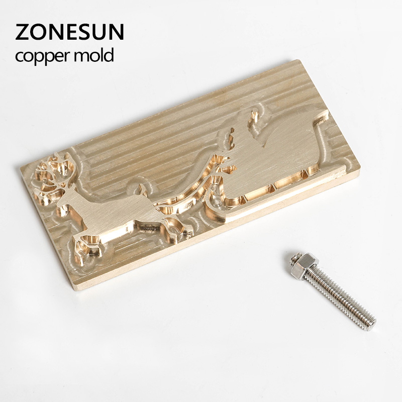 ZONESUN Christmas DIY Logo mold, Customized stamping copper mold with foil paper printing , Xmas Wood Cake Leather Embos Stamp household product plastic dustbin mold makers
