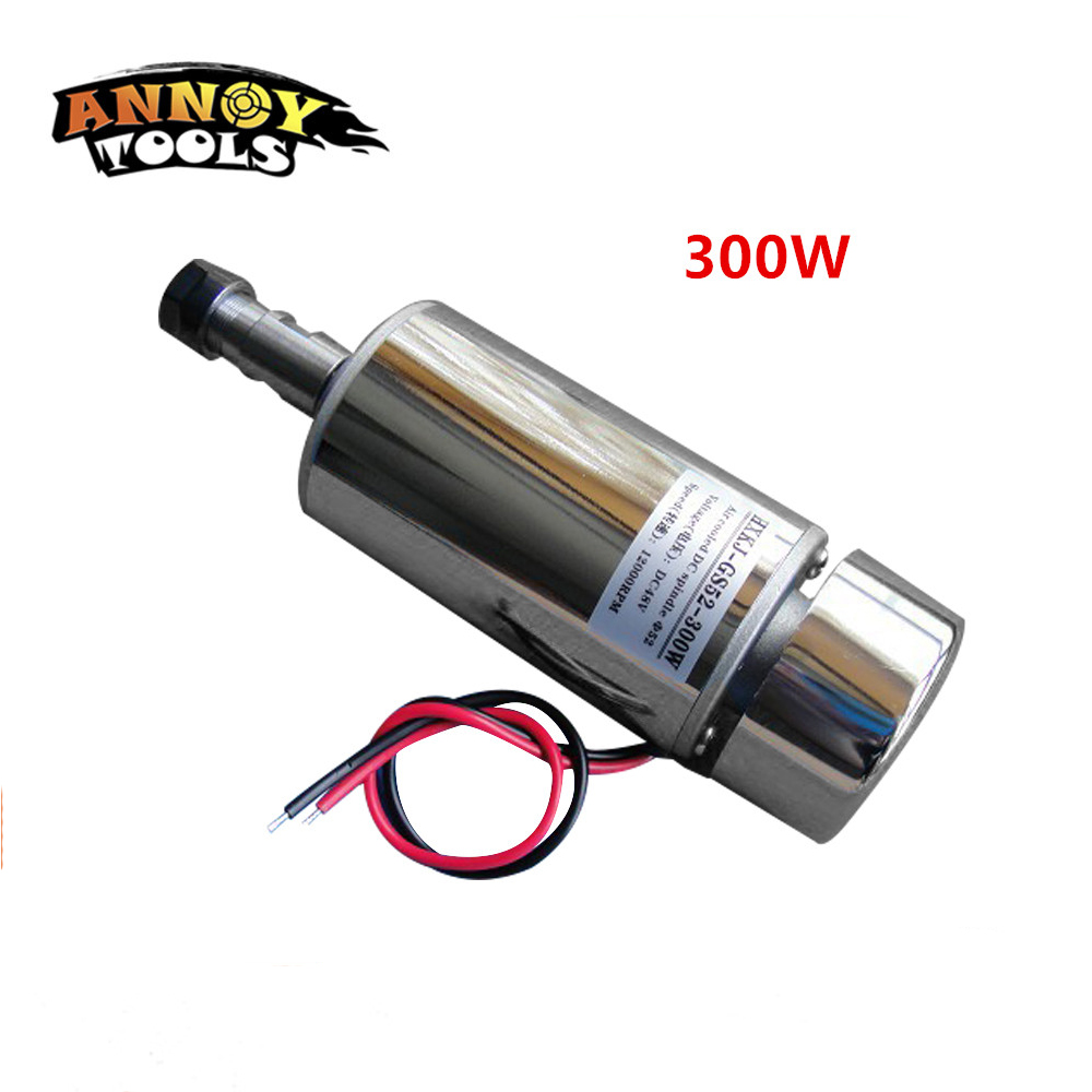 ANNOYTOOLS HIGH QUALITY 1pcs ER11 chuck 300W 12 48V CNC Spindle DC Motor air cooling spindle