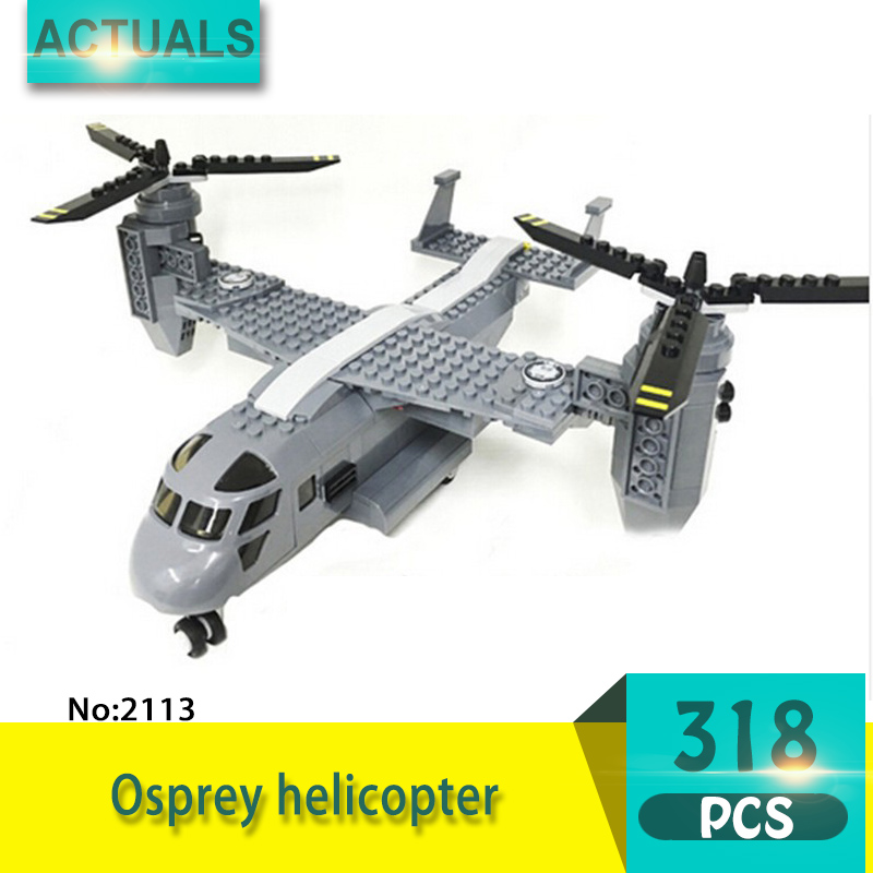Decool 2113 318Pcs Military series Osprey helicopter Model Building Blocks Bricks Toys For Children Gift 2113