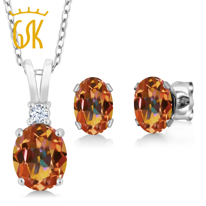 Jewelry Sets 3.55 Ct Oval Ecstasy Mystic Topaz 925 Sterling Silver Pendant Earrings Set Jewelry & Accessories