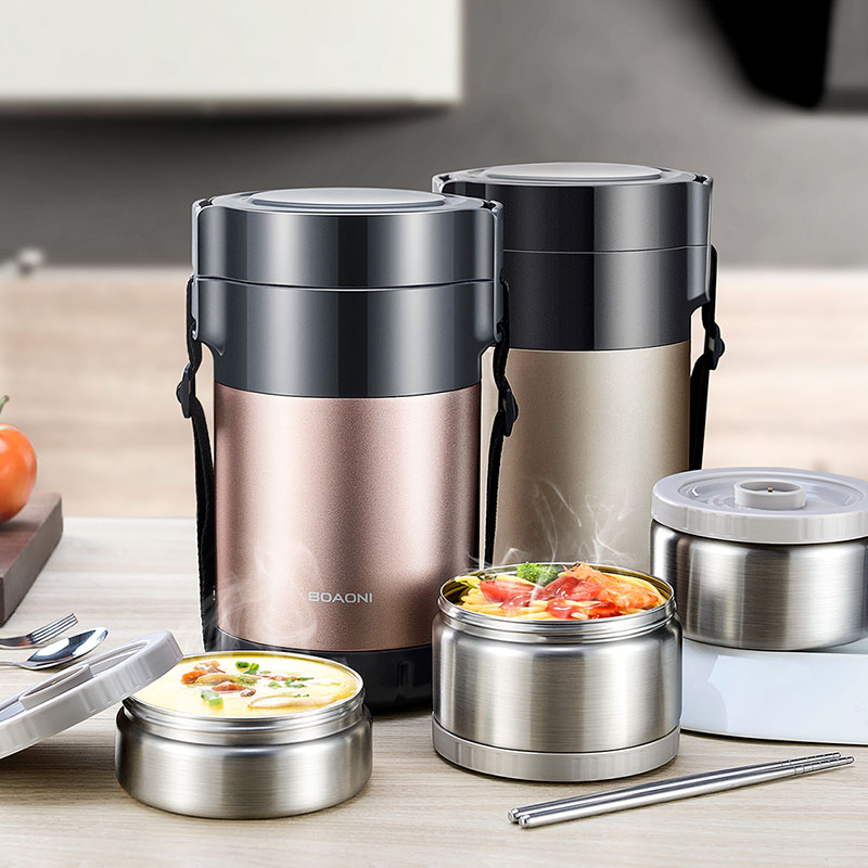 BOAONI 2000ML Food Lunch Box Stainless Steel Container For Hot Soup Vacuum Flask Thermos Insulated Kitchen School Lunch Boxes