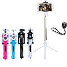 De mano y mini trípode 3 en 1 teléfono monopod autorretrato selfie stick w bluetooth disparador remoto para iphone sumsang gopro