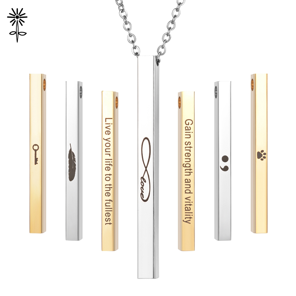 Mantra Necklace Letter Stamped Bar Inspirational Engraved Pendant Jewelry Gift