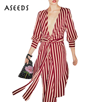 Vintage Red White Striped Dress Women Summer Dresses 2017 Sexy Split Office Long Dress Casual Long