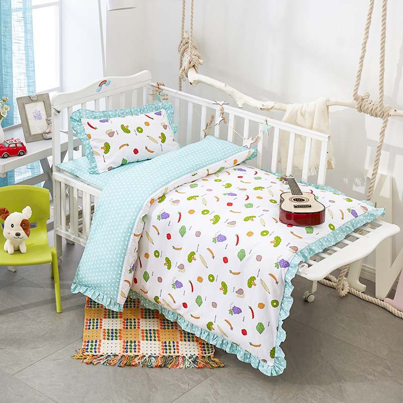 3pcs/set baby bedding Ruffled design 100% cotton kids bedding set for newborn girls and boys duvet cover pillowcase bedspread