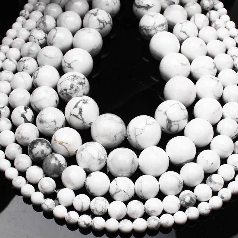 CAMDOE DANLEN с натуральным драгоценным камнем белый бирюзовый говлит бусины 4 6 8 10 12 14 мм браслет подходит шармы бусины для творчества для изготовления ювелирных изделий