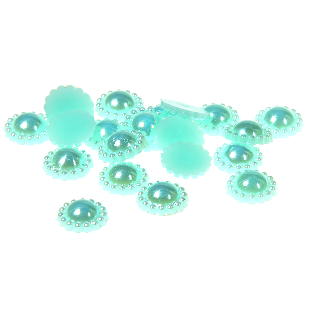 9-12mm 1000/2000pcs Lake Green AB ABS Resin Half Round Imitation Pearls Beads Sunflower Wedding Cards Embellishments Decorations