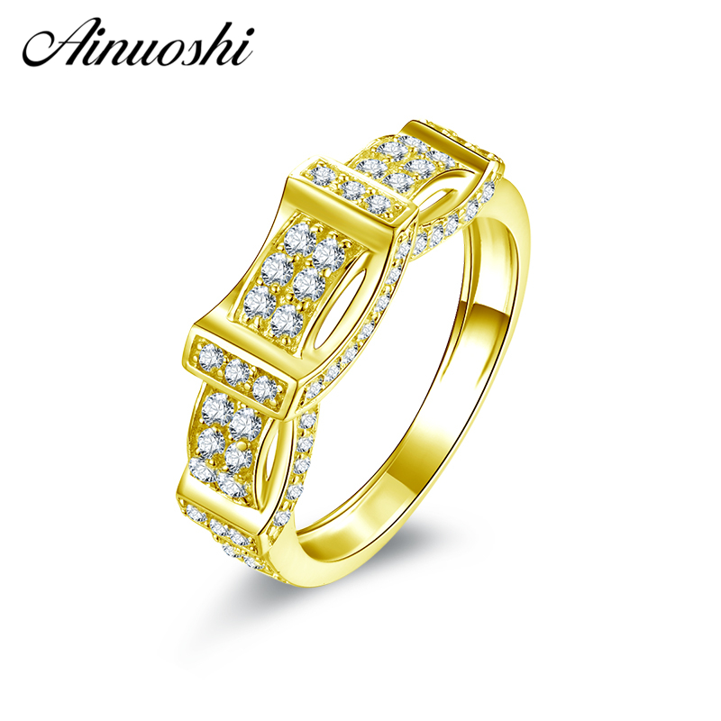 AINUOSHI 10K Solid Yellow Gold Wedding Band Vintage Retro-Pattern Cluster Ring Bague Anillos Engagement Jewelry for Female Male шины michelin latitude x ice north lxin2 275 40 r20 106t