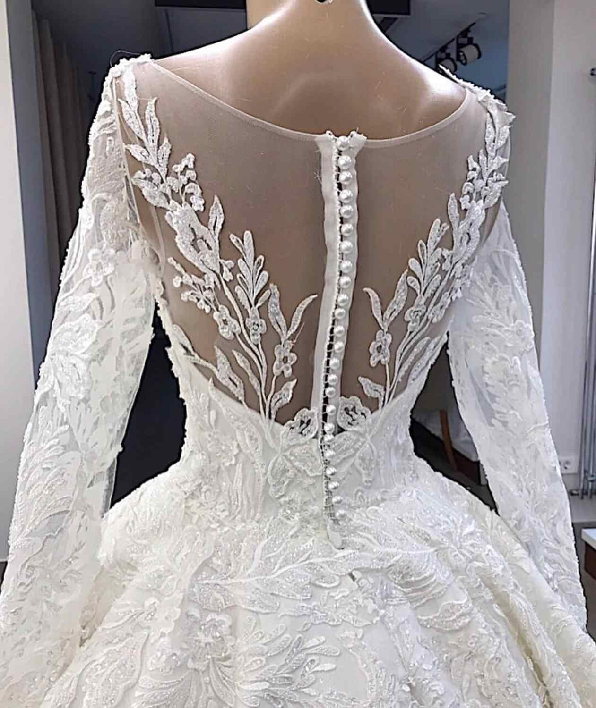 Vestido דה Novia אלגנטי לבן תחרת אפליקציות שמלת כלה 2019 אשליה חזרה ארוך שרוול שמלת כלה בתוספת גודל Gelinlik