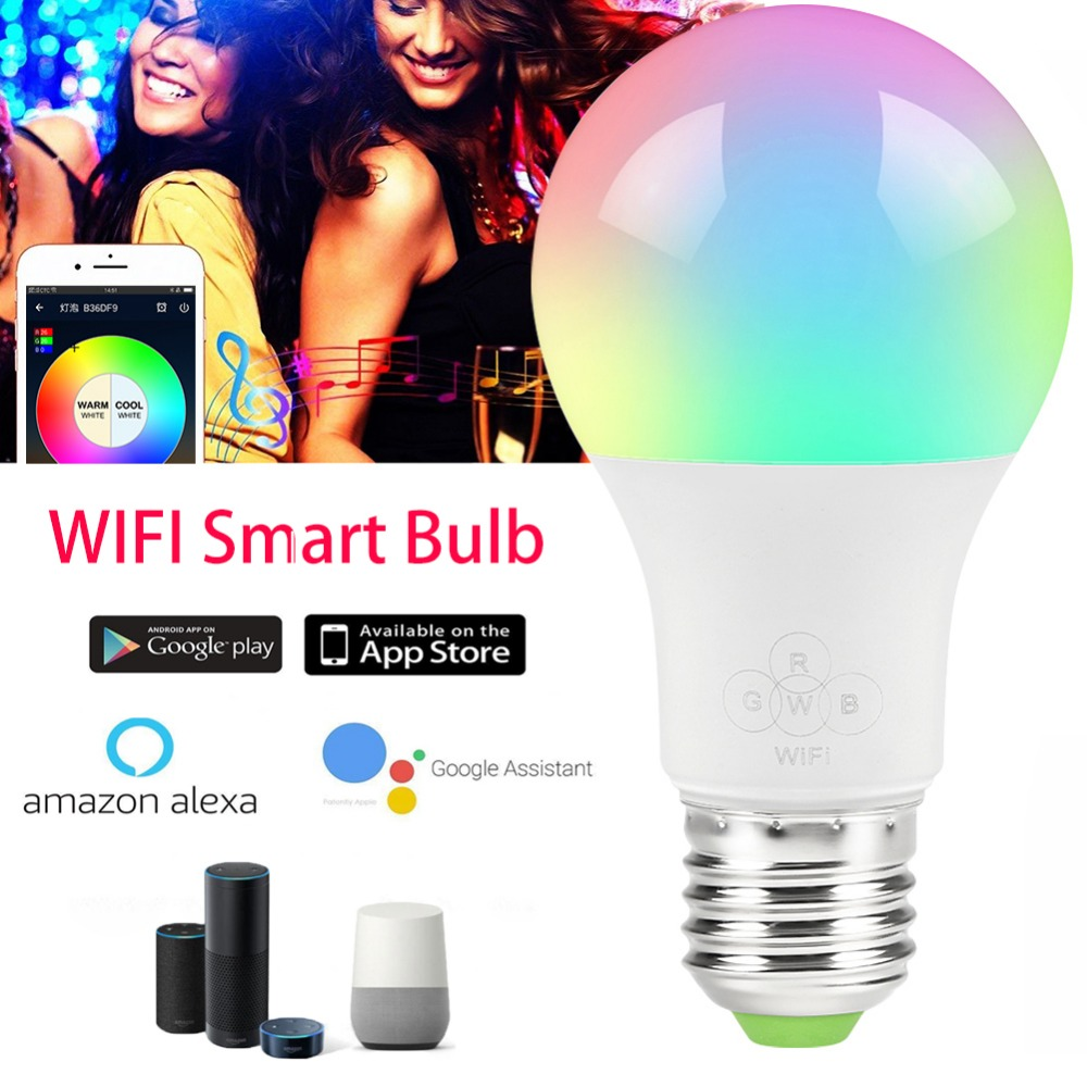 Magic 4,5 W 6,5 10 W E27 B22 RGB Led Bombilla de luz de casa inteligente Bluetooth lámpara cambio de Color regulable AC85-265V trabajo con ALexa Google