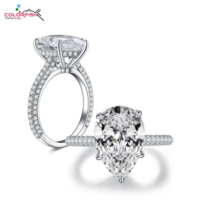 COLORFISH Luxury 5 carat Pear Shaped Engagement Ring Real 925 Sterling Silver Jewelry Zircon Three row