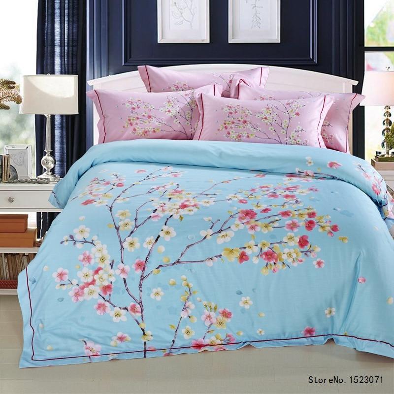 ჱTUTUBIRD sakura azul floral de Fibra de Bambú suave Satén de Seda ...