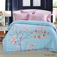 TUTUBIRD Blue Sakura Floral Luxury Soft Tencel Satin Silk Feeling Bedding Sets Quality Bedlinen Sheets Boho