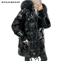 Patent Leather Glossy Winter White Duck Down Jacket Women Large Fur Collar Long Parka 2019 New Arrival Warmth Womens Down Coats