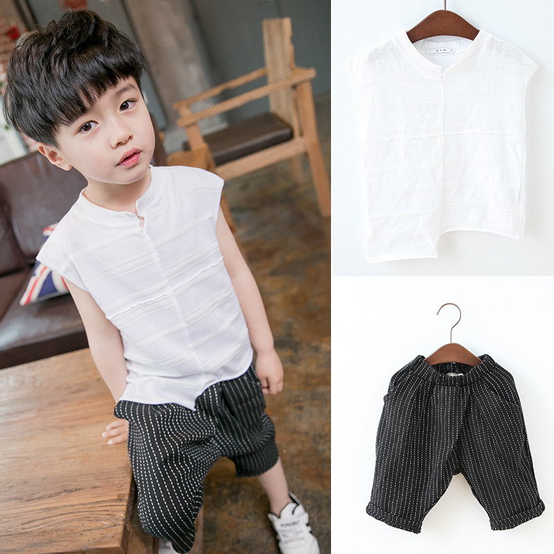 2017 New 1 to 6 Years Boys Linen Clothing Set Sleeveless Stripe Vest And Harem Pants 2 Pieces For Boys Kids Summer Clothes White new sexy vs045 1 6 black and white striped sweather stockings shoes clothing set for 12 female bodys dolls
