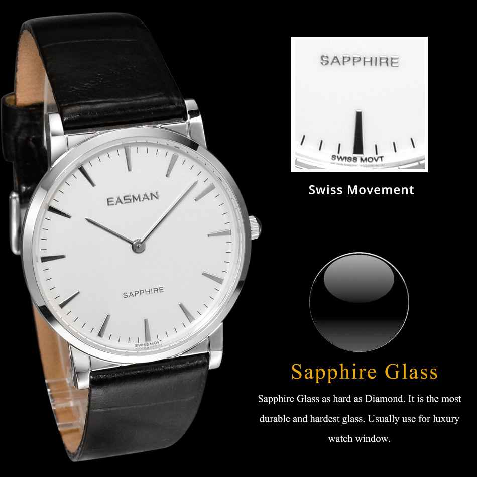 aliexpress com buy easman brand watch shop watches of aliexpress com buy easman brand watch shop watches of switzerland classic black genuine leather sapphire glass dress wrist watch watches for men from