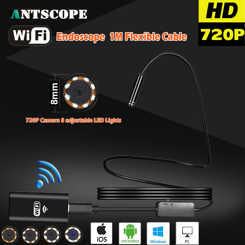 Antscope HD720P 8mm 2MP 1M 8LED Hard Flexible Snake USB WIFI Android IOS Endoscope Camera Iphone Borecope Pipe Inspection Camera 2017 new 8led 7m hard flexible snake usb wifi android ios iphone endoscope camera iphone borecope pipe inspection hd720p camera