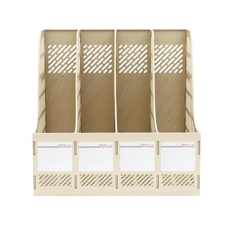 Купить с кэшбэком Deli 1pcs document trays file box functional file organizer 4 cases desktop storage file folder with label 9848