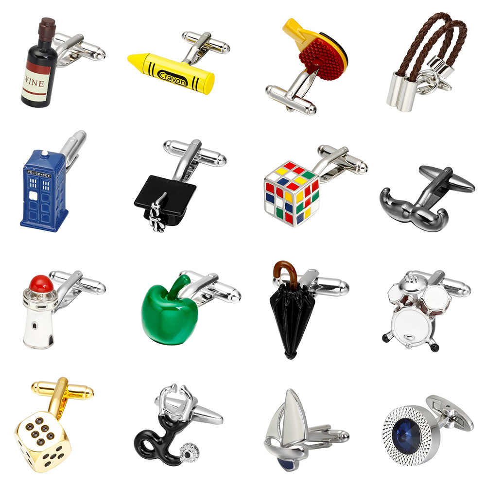 MeMolissa Hot Sale Novelty Cufflinks 18 Designs Umbrella/Wine bottle/Crayons/Cube/Apple/Lighthouse Design High Quality Cufflinks