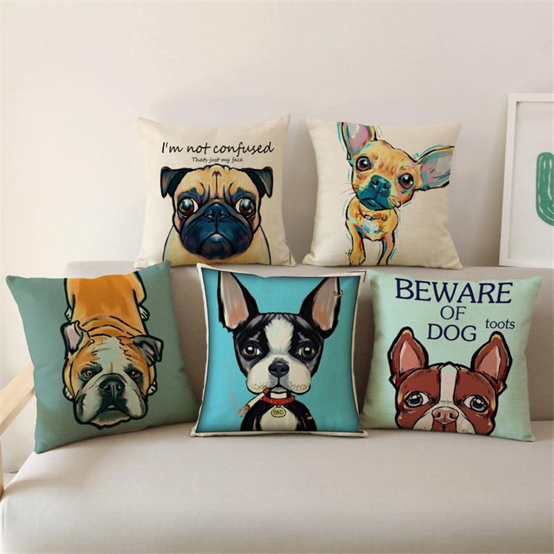 Cute Animals Pet Dog Pattern Cushion French Bulldog Pug Dog Pillowcase Woven Pillowcase Linen Home Decor IN STOCK