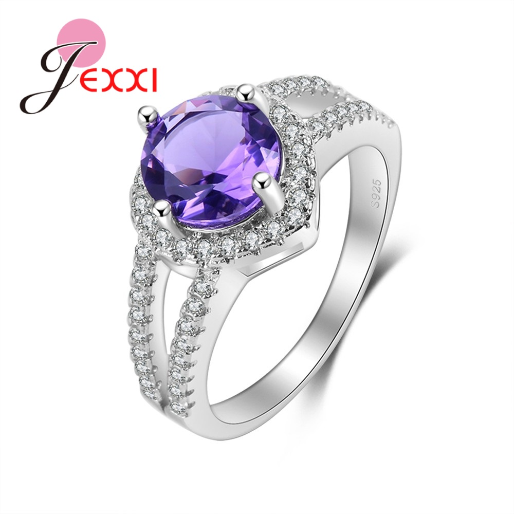 Shinning Purple Round Cubic Zirconia 925 Sterling Silver Beautiful Generous Cheap Wedding Big Promotion Rings For Girls