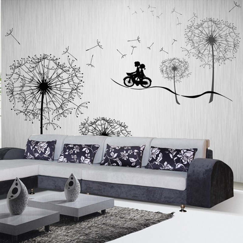 Customized large mural wallpaper cartoon dandelion lovers for Cartoon mural wallpaper