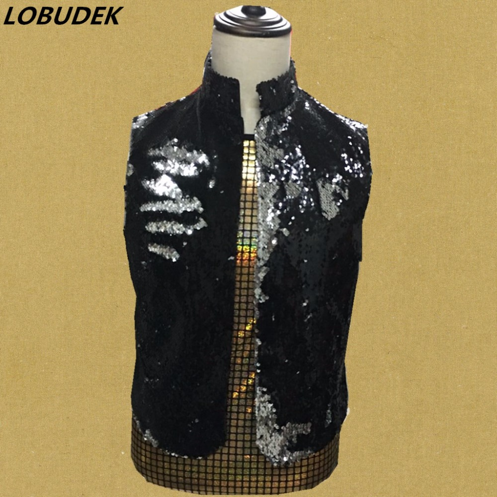 Tide male sequins vest black gold slim Vest fashion sleeveless waistcoat singer party Clubs stage DJ jazz costume stage outfit