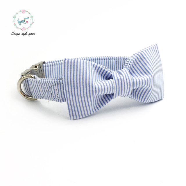 Blue striped Collar set with Leash and Bow Tie 2