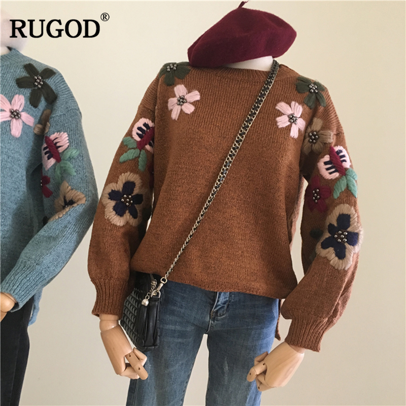 Rugod new Women Sweater and Pullovers flower embroidery 2018 autumn winter Knitted sweater o-neck long sleeve pull femme hiver rugod 2018 new knitted winter dress women pullovers fashion sweet solid o neck long sleeves pull femme christmas sweater dress