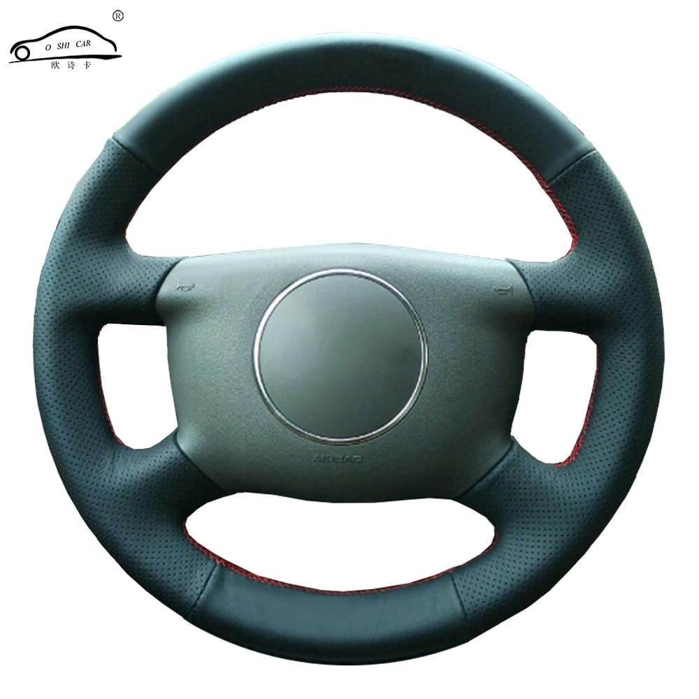 Чехол рулевого колеса автомобиля из натуральной кожи для A6 2000 2004 A3 2000 2003/выделенная оплетка руля Чехлы на руль      АлиЭкспресс