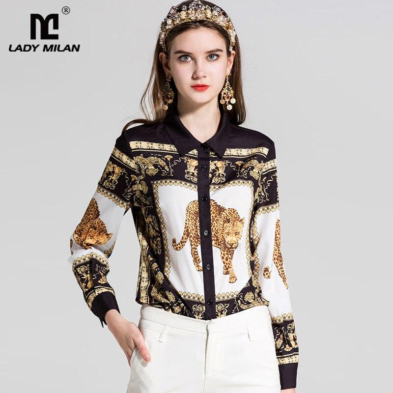 New Arrival 2018 Womens Turn Down Collar Long Sleeves Elephant Printed High Street Fashion Designer Shirts