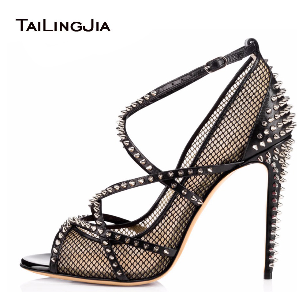 Women Sliver Spikes Fishnet Extreme High Heels 2017 Sexy Ladies Strappy Pumps Black Mesh Shoes Peep Toe Rivets Sandals Stilettos sexy summer women fishnet high block heels ankle strappy peep toe sandals shoes