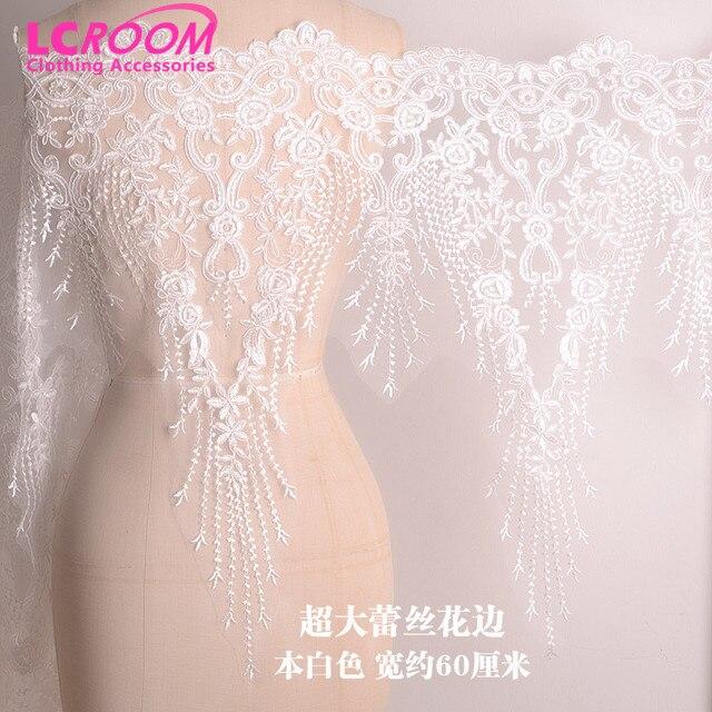 6d1360a7b6 Gran encaje bordado novia de la boda Accesorios blanco marfil del ajuste  del cordón de la