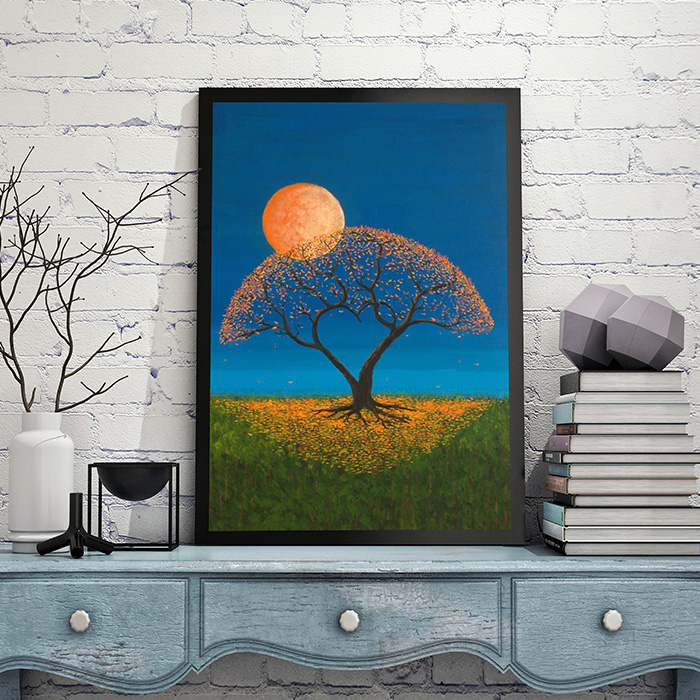 Ming moon view grass night living room DIY digital oil ...