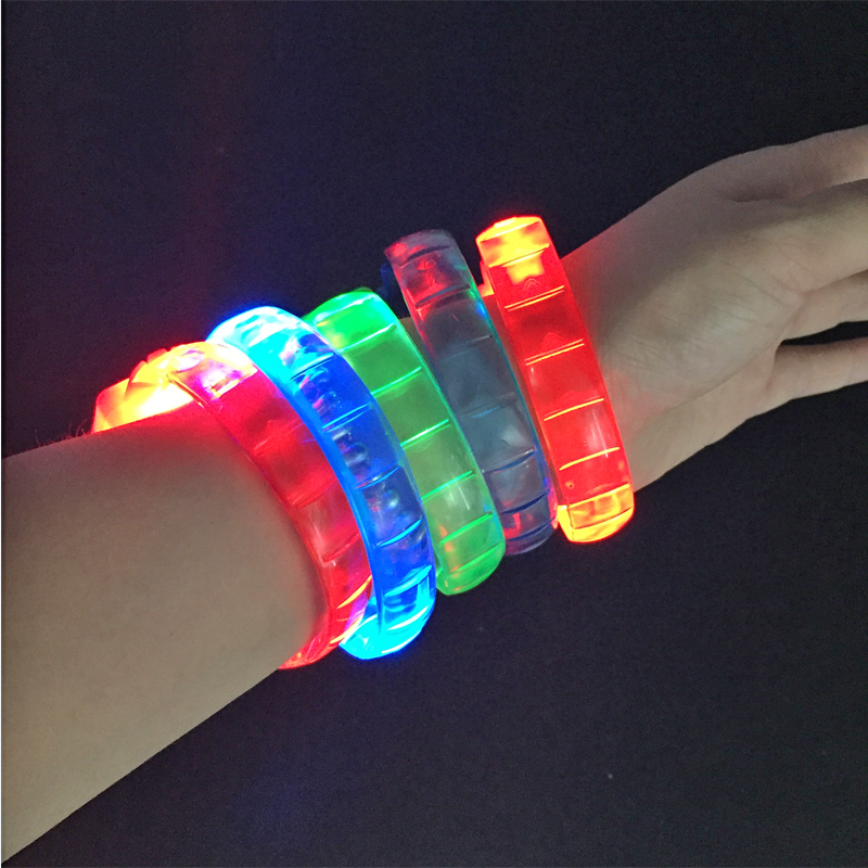 50pcs/lot New Led Flashing Bracelet Toys Colorful Soft Rubber Light Up Glowing Wristband Toy Event Party Christmas Supplies