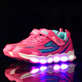 Light up shoes for children kids 2017 fashion PU led LED Lights Luminous glowing black sneakers usb boys girls walking running